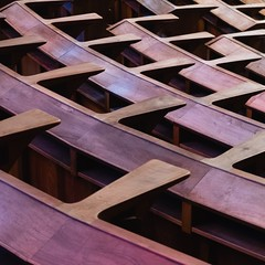 Miguel Fisac. San Pedro Martir Dominícos #19 (Ximo Michavila) Tags: miguelfisac madrid sanpedromartirdominícos spain alcobendas architecture archidose archdaily archiref ximomichavila fisac church religion interior light wood square 11 seats geometry abstract pattern