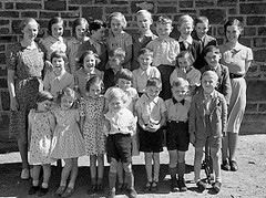 Group photo (theirhistory) Tags: boy children child kid girl school group class pupils students form dress shirt shoes shorts wall