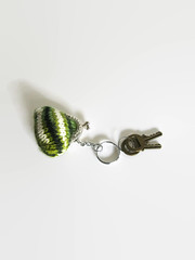 Tiny Coin Purse Keychain Knitted in Green White Wool (brandacrafts) Tags: greenwhitewool handknitted keychain claspcoinpurse minipouch bagaccessories woolcoinpurse knittedpouch cutekeychain tinycoinpurse giftsunder15 branda