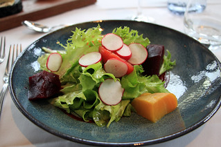 Baked Yellow and Red Beets with Salad