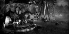 Haunted carnival (Zoey Lynne) Tags: secondlife haunted halloween bw