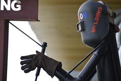 Welding Class Mascot (BJ Grete) Tags: sign mascot welding poll tool gloves clothing art mask helmet class metal