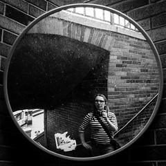 Tower Bridge Self Portait (ellieupson) Tags: portrait selfportrait london towerbridge mirror reflection blackandwhite monochrome contrast introspection