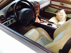 2004 Thunderbird interior, seats, controls (wbaiv) Tags: ford thunderbird turquise beige interior leather fabric soft top pretty car colors black plastic carpet cloth inserts seats luxury 2seat automobile 2004 oneowner