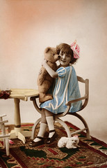 BXP22854 (baik95501) Tags: antique historic history old people person ancestor familyportrait lifestyle nostalgia nostalgic oldfashioned past portrait posing vintage child childhood children colored female friend friendship girl happiness happy innocence innocent inside joy joyful joyous kid love nursery painted pure purity sittting smiling stuffedanimal teddybear tenderness togetherness toy adolescent bear embrace embracing hold holding hug hugging play playing juvenile tinted indoors smile buddy companionship posed titlevintageglamourromance one oneperson archival 1 alone caucasian childrenonly