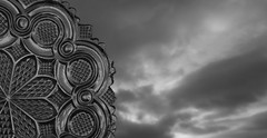 Roman Rosette (Rand Luv'n Life) Tags: odc our daily challenge sandwich 19th century american antique lacy roman rosette pattern monochrome evening sunset clouds background outdoor blackandwhite macro mondays glass