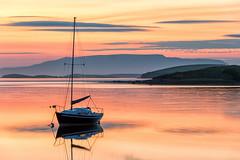 Sailing into the sunset (mickreynolds) Tags: 50200mm comayo ireland nx500 september2018 sunset wildatlanticway sailboat sun set golden sea water