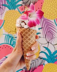 Frozen Fruit Ice Cream (ella.o) Tags: icecream cone hand marshmallows flower chocolate tropical toppings holding venicebeach dessert sweet wafflecone sugar