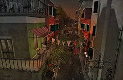 Vintage lane (Milla DelRay) Tags: landscape architecture town village lane italian houses vintage sl secondlife sunset evening kekelandbardeco italy buildings balconies windows