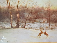 Hazen in winterlandschap Rien poortvlier (DymphieH) Tags: postcards brown winter sent