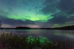 Green Nightsky (laurilehtophotography) Tags: suomi finland hankasalmi northernlights auroras auroraborealis nature landscape night autumn fall water lake reflections awesome earth europe clouds revontulet nikon d750 sigma 20mm art