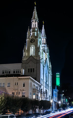 peter and paul time 10:37pm on citizenship day 2018 (pbo31) Tags: sanfrancisco california nikon d810 coit tower green color september 2018 city urban boury pbo31 night dark black northbeach lightstream traffic motion roadway park washington church religion architecture peter paul saints time citizenshipday