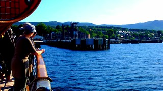 Scotland West Highlands the paddle steamer Waverley docking at Brodick pier island of Arran in the evening video 1 July 2018 by Anne MacKay