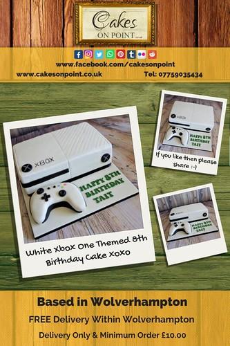 White Xbox One Themed 8th Birthday Cake