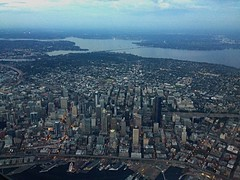 Seattle from plane window (D.Erickson) Tags: water downtown buildings danitaerickson aerial sky washingtonstate city pugetsound washington aerialview view 2018 iphoneography landscape cityscape seattle window planewindow plane