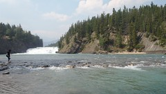 Bow Falls Summer (Mr. Happy Face - Peace :)) Tags: albertabound cans2s rockies banff alberta canada lakelouise summer art2018 scenery landscape river lake sky clouds mountains trees forest smoke bcwildfires haze