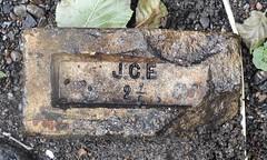 JCE Brick, Blaen Bran Brook, Tranter's Terrace, Upper Cwmbran 22 August 2018 (Cold War Warrior) Tags: yellow brick jce brook cwmbran blaenbran