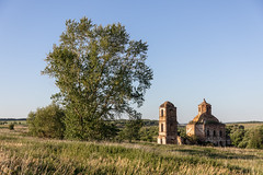Abandoned Church. (Oleg.A) Tags: grass ruined sunny old penzaregion russia church nature ancient brick chapelle outdoor rural materials dome building landscape exterior summer abandoned countryside tower sunset forest orthodox evening sky cross wall village architecture field chapel landscapes outdoors napolnyyvyas penzenskayaoblast ru
