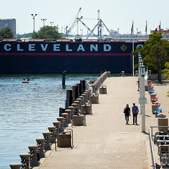 Cleveland (HJharland5) Tags: ship boat water lake waterfront pier walkway park lakeerie downtown cleveland ohio summer olympus em10ii tree flag