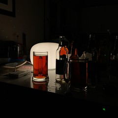 Backlight Beers (georgiehuxley) Tags: beer colour light shadow backlight silhouette bottles party night dark lamp drink geometric lines outlines reflection table