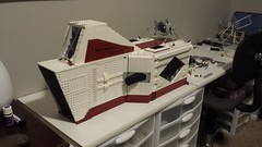 SHIPtember Day #8 (Ty S.) Tags: shiptember ship wip diamond red white cockpit glass window gun cannon turret vent greeble lego moc space scifi happy
