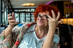Spirited Lady (Walerija Weiser) Tags: frau restaurant ausdruck theater london story