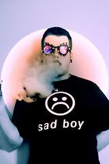 Bubblegum Bitch (joeeckroth) Tags: vape color colorful creepy weird pen psychedelic trippy self portrait me kaleidoscope goggles rave sad boy shirt