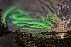 Magical Night in Lapland (tiitkbi) Tags: finland auroraborealis lake reflections moonlight road