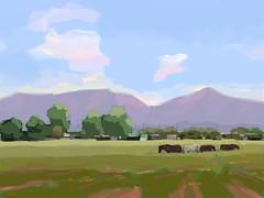 Near Tucson (John Healey II) Tags: fingerpainting brushesredux brushes app ipad digital painting summer tucson arizona mountains field horses pleinair landscape