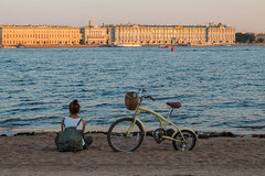 A Bicycle on the Sand (Valery Parshin) Tags: russia saintpetersburg canoneos70d canonef40mmf28stm evening neva river girl water stpetersburg bicycle ngc 5