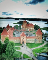 """(#droneview) Trakai #Island Castle (Lithuanian: Trakų salos pilis), #lake Galvė. The construction of the stone #castle was begun in the 14th century by Kęstutis, and around 1409 major works were completed by his son Vytautas the Great, who died in this ca (""""guerrilla"""" strategy) Tags: ifttt instagram droneview trakai island castle lithuanian trakų salos pilis lake galvė the construction stone was begun 14th century by kęstutis around 1409 major works were completed his son vytautas great who died this 1430 one main centers grand duchy lithuania held strategic importance 