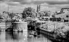 Diglis Lock largest in UK! (WorcesterBarry) Tags: blackwhite bnw blackandwhite water candid cathedral riversevern reflection barges travel transport swans places people photographers p