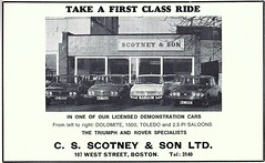 1973 ADVERT - C S SCOTNEY AND SONS ROVER AND TRIUMPH DEALERS BOSTON LINCOLNSHIRE (Midlands Vehicle Photographer.) Tags: 1973 advert c s scotney and sons rover triumph dealers boston lincolnshire