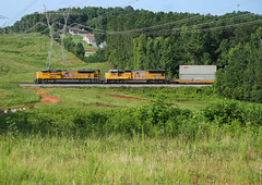 Valley Yellow (weshendrix) Tags: norfolk southern ns train railfanning railfan rails railroad railroading rr freight intermodal outdoor valley sunshine emd sd70ah up union pacific diesel engine locomotive vehicle trees