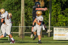 """JV v. St. Aug '18-46 (mark.calvin33) Tags: football field sport ball """"high school"""" """"ponte vedra high pvhs block tackle rush run pass catch receiver blocker """"running back"""" quarterback fumble completion reception hike pitch snap """"friday night lights"""" fans stands kick """"end zone"""" """"nikon d7100"""" 2018 win athletics athletes """"night photography"""" """"sharks football"""""""