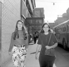 In Downtown Atlanta (1972) (philipbouchard) Tags: downtown atlanta georgia 1970s 1972 women walking richs bus deepsouth blackandwhite bw shotonfilm