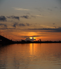 SUNRISE (R. D. SMITH) Tags: sunrise indianriver water morning river bridge dawn crop squareformat