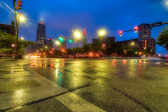 After the Morning Rain (tquist24) Tags: cleveland hdr nikon nikond5300 ohio outdoor terminaltower west9thstreet weststclairavenue architecture bluehour city cityscape cloudy crosswalk geotagged intersection lights longexposure morning reflection reflections sky skyscraper skyscrapers street streets trafficlights unitedstates