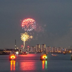 Fireworks over the Thames. Lumix DMC TZ70. P1060106. (Robert.Pittman) Tags: panasoniclumix lumix dmctz70 nightshot nightimage fireworks riverthames thamesbarrier citypeninsula bargewalk northgreenwich london se100by night sky city water river skyline flooddefence