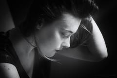 Just a moment III (Passie13(Ines van Megen-Thijssen)) Tags: studioshoot portrait portret girl woman canon netherlands blackandwhite bw sw zw zwartwit monochroom monochrome monochrom inesvanmegen inesvanmegenthijssen bestportraitsaoi