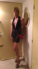 I apologise for poor quality of that set, taken at le Cap d'Agde, with my phone. Pardon pour la piètre qualité de ce lot de photos, prisent au Cap d'Agde, avec mon téléphone (magda-liebe) Tags: travesti crossdresser french outgoing minidress purse platform highheels