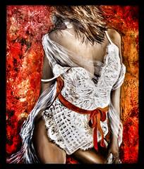 Le ruban rouge (Jean-Louis DUMAS) Tags: sexygirl tableau peinture peintre portrait ruban younggirl jeunefemme prettywoman sexy red rouge girl fille woman femme