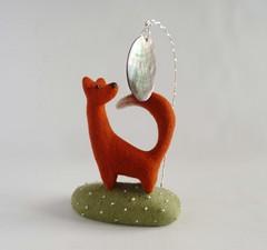 The fox and the Moon (Gretel Parker) Tags: needlefeltedfox needlefeltanimal needlefelt needlefelting needlefeltscene gretelparker softsculpture fibreart foxsculpture mixedmediaart