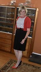 Red/Black and Polka Dot (krislagreen) Tags: tg tgirl transgender transvestite tv crossdress crossdresser cardigan dress pumps stilettos patent highheelpumps feminized femme feminine femininized feminization