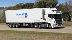 Jerrawa Power (4/8) (Jungle Jack Movements (ferroequinologist)) Tags: wickam freightlines karras mccabe meat movers volvo western star scania jerrawa yass nsw new south wales australia hume highway capricorn dancer kenworth bricks damorange werribbe mason vegetables rodneys wagga sterling about time hp horsepower big rig haul haulage freight cabover trucker drive transport carry delivery bulk lorry hgv wagon road nose semi trailer deliver cargo interstate articulated vehicle freighter ship motor engine power teamster truck tractor prime mover diesel cab cabin loud wheel tipper