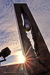 "Sunset Hour at Harbor View 9-11 Memorial Park, The Russian Teardrop Gift to America, Bayonne NJ (takegoro) Tags: harborview911memorialpark russianteardrop sculpture art monument bayonne newjersey bronze sun sunburst starburst sunset ""magic hour"" ""golden"