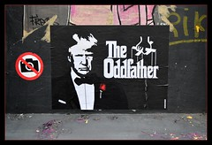 Dotard Don, what's that flower you have on? Could it be a faded rose from days gone by? (Loco Steve) Tags: london bricklane streetart shoreditch poster 2018 donaldtrump