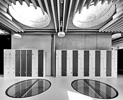 storage space (heinzkren) Tags: schwarzweis blackandwhite bw sw monochrome geometry symmetry indoor architecture architektur windows fenster spind kasten licht light lichtkuppel lightshaft innamoramento