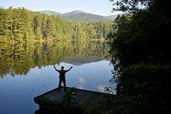 Take it all in (NC Mountain Man) Tags: water trees ncmountainman nikon d3400 phixe lake reflection man dock sky forest balsamlake lowresolutionversion
