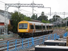 170511 through the footings (The Walsall Spotter) Tags: westmidlandsrailway class170turbostar 170511 thechaseline thechaselineelectrification overheadlineequipment bloxwich